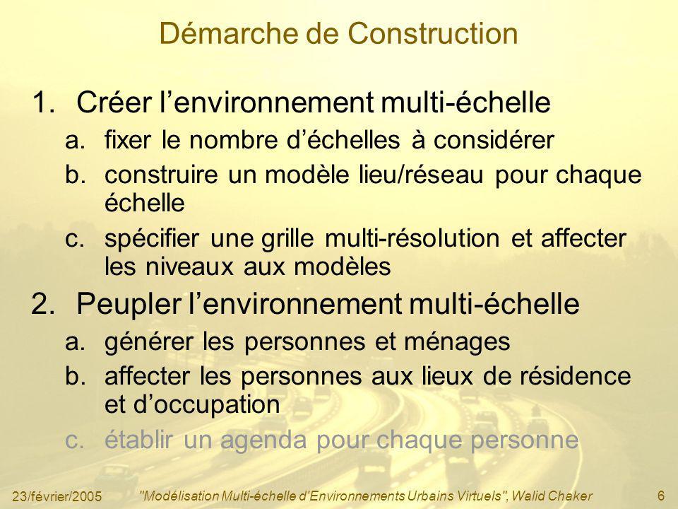 23/février/2005 Modélisation Multi-échelle d Environnements Urbains Virtuels , Walid Chaker17 2.b.