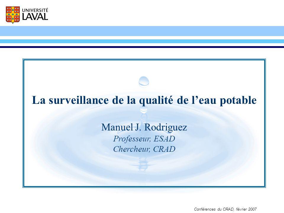 La surveillance de la qualité de leau potable Conférences du CRAD, février 2007 La surveillance de la qualité de leau potable Manuel J. Rodriguez Prof