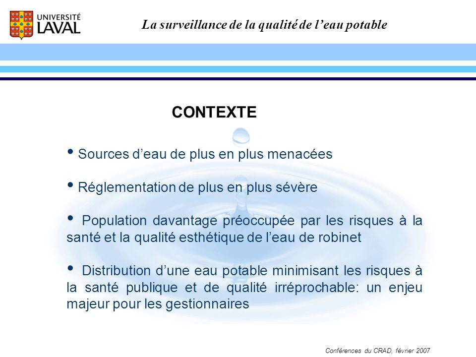 La surveillance de la qualité de leau potable Conférences du CRAD, février 2007 CONTEXTE Sources deau de plus en plus menacées Réglementation de plus