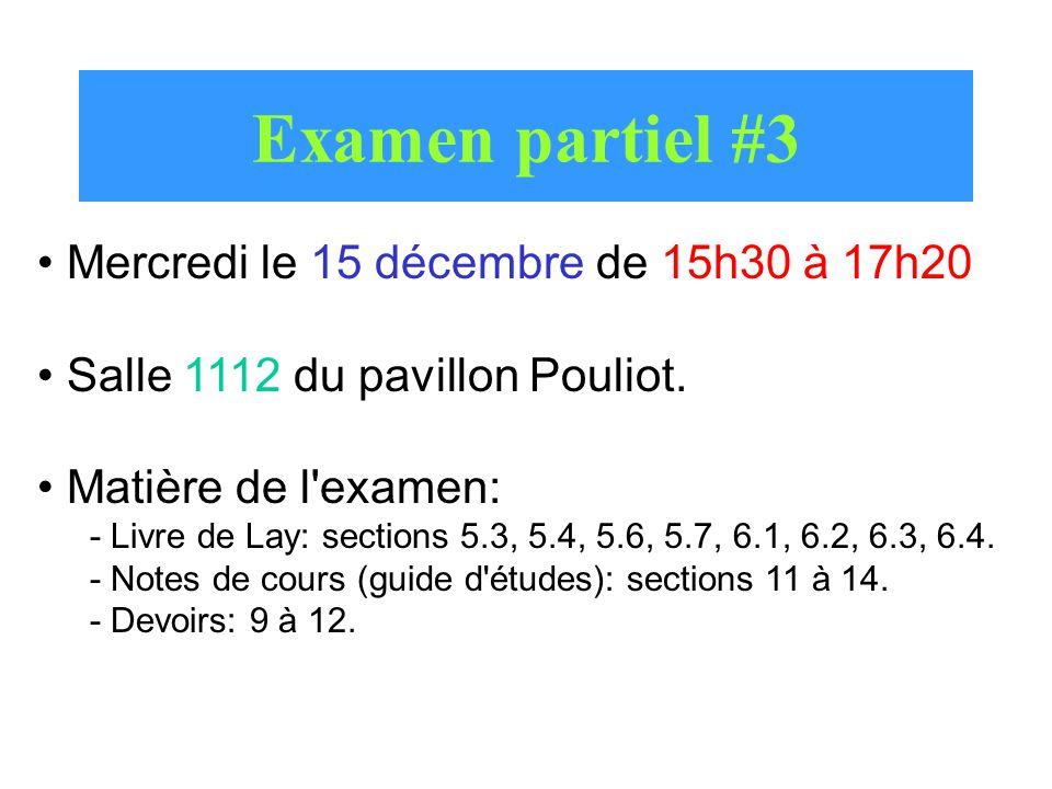 Examen partiel #3 Mercredi le 15 décembre de 15h30 à 17h20 Salle 1112 du pavillon Pouliot. Matière de l'examen: - Livre de Lay: sections 5.3, 5.4, 5.6