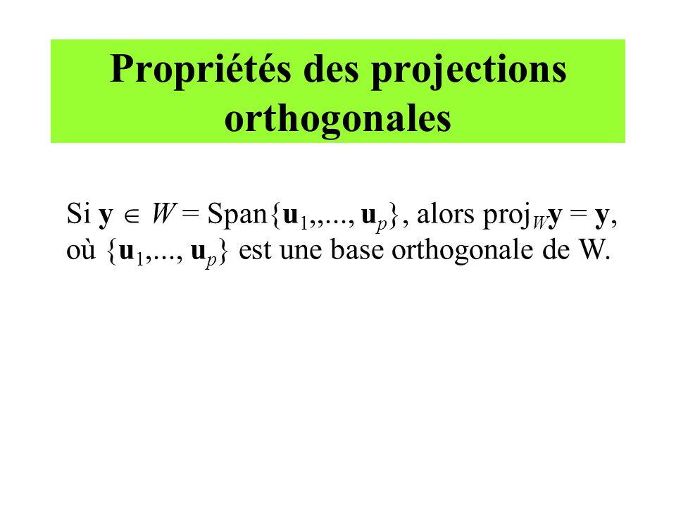 Propriétés des projections orthogonales Si y W = Span{u 1,,..., u p }, alors proj W y = y, où {u 1,..., u p } est une base orthogonale de W.