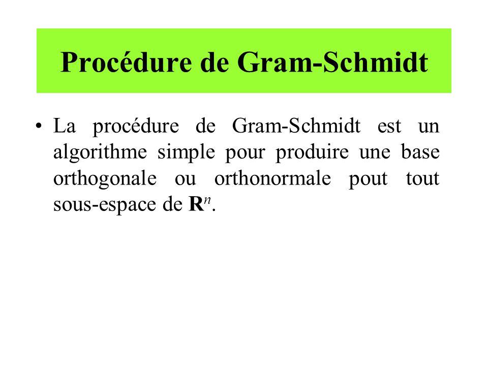 Procédure de Gram-Schmidt La procédure de Gram-Schmidt est un algorithme simple pour produire une base orthogonale ou orthonormale pout tout sous-espa
