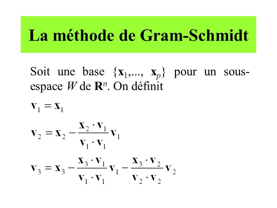 La méthode de Gram-Schmidt Soit une base {x 1,..., x p } pour un sous- espace W de R n. On définit