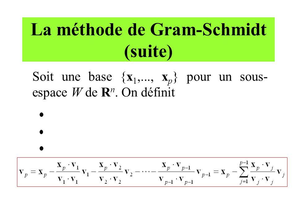 La méthode de Gram-Schmidt (suite) Soit une base {x 1,..., x p } pour un sous- espace W de R n. On définit