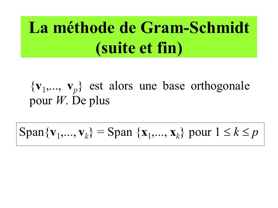 La méthode de Gram-Schmidt (suite et fin) {v 1,..., v p } est alors une base orthogonale pour W. De plus Span{v 1,..., v k } = Span {x 1,..., x k } po