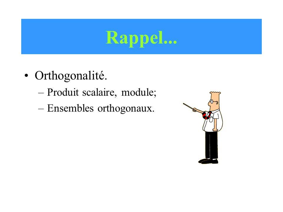 Rappel... Orthogonalité. –Produit scalaire, module; –Ensembles orthogonaux.