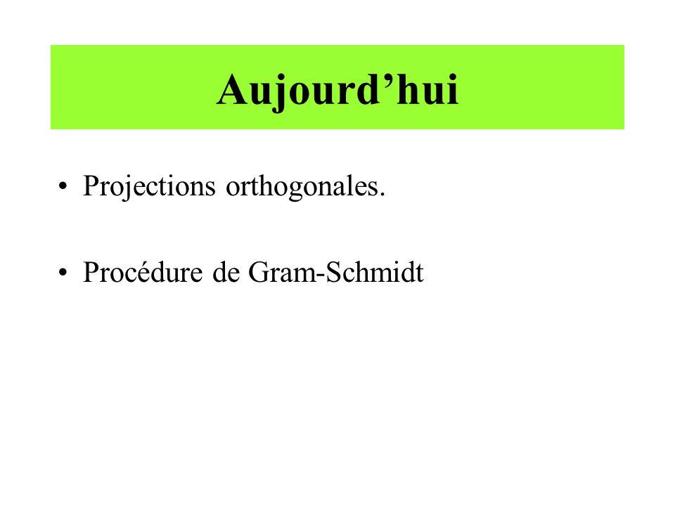 Aujourdhui Projections orthogonales. Procédure de Gram-Schmidt