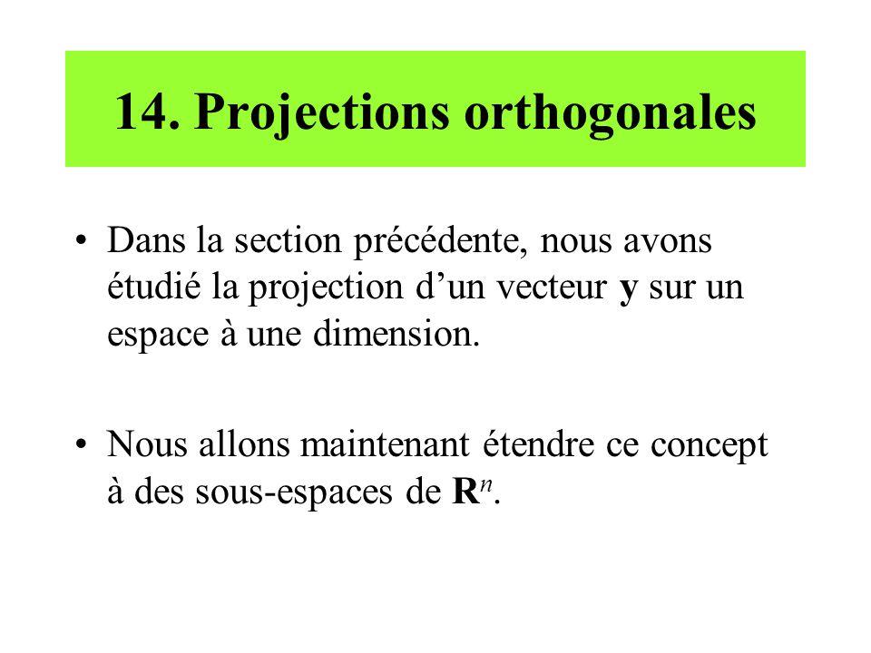 14. Projections orthogonales Dans la section précédente, nous avons étudié la projection dun vecteur y sur un espace à une dimension. Nous allons main