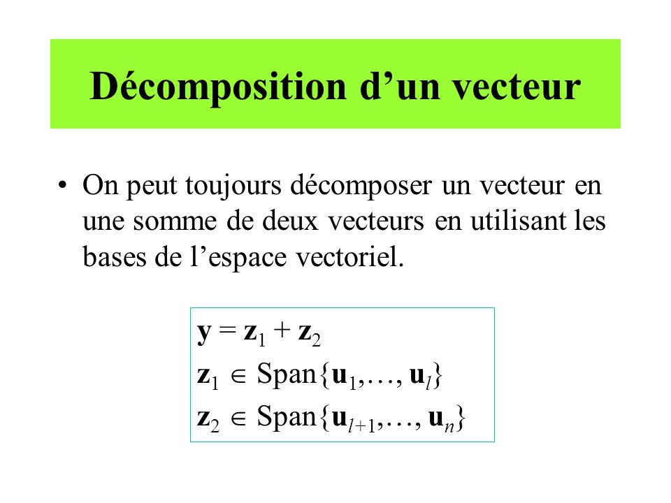 Décomposition dun vecteur (suite) En particulier, si {u 1,…, u n } est une base orthogonale, on aura z 1 z 2.