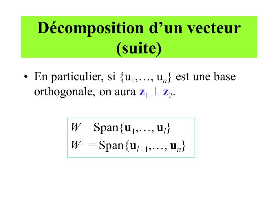 Décomposition dun vecteur (suite) En particulier, si {u 1,…, u n } est une base orthogonale, on aura z 1 z 2. W = Span{u 1,…, u l } W = Span{u l+1,…,