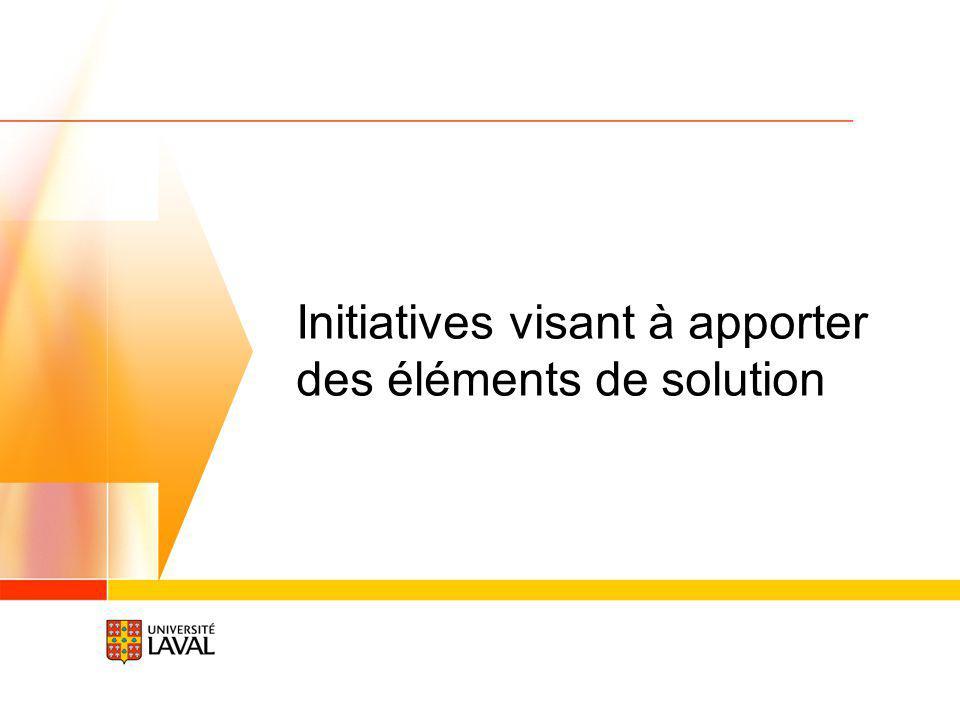 Initiatives visant à apporter des éléments de solution