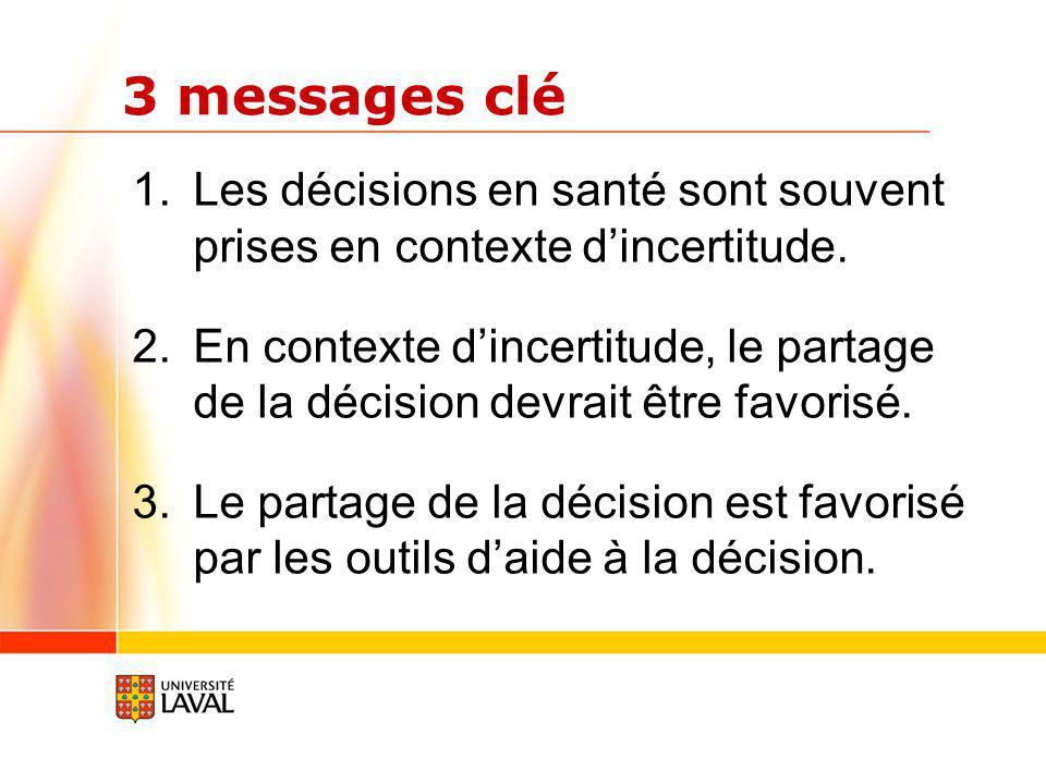 3 messages clé 1.Les décisions en santé sont souvent prises en contexte dincertitude.