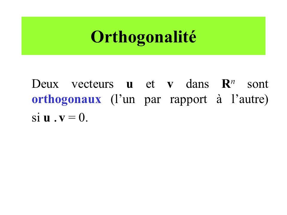 Orthogonalité Deux vecteurs u et v dans R n sont orthogonaux (lun par rapport à lautre) si u. v = 0.