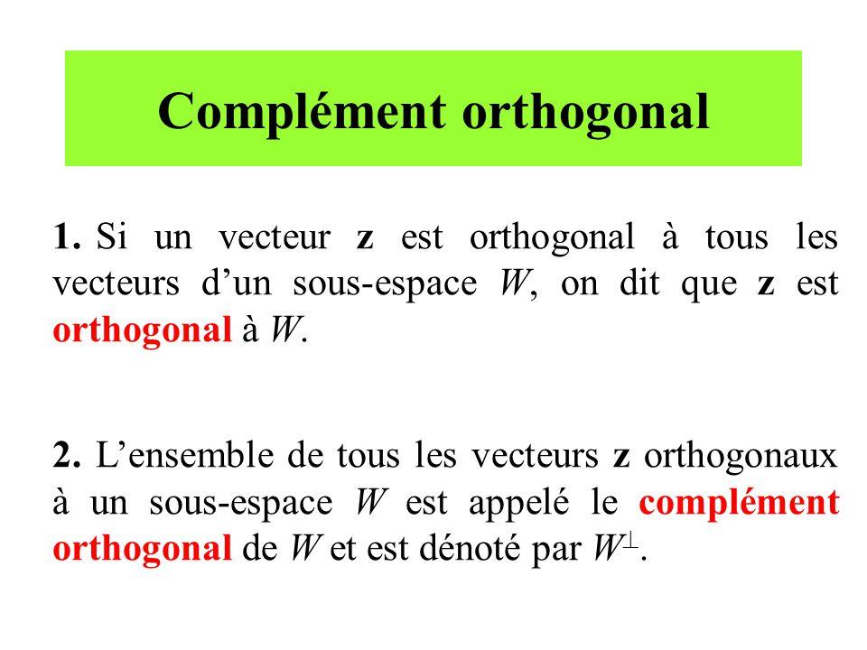 Complément orthogonal 1.Si un vecteur z est orthogonal à tous les vecteurs dun sous-espace W, on dit que z est orthogonal à W. 2.Lensemble de tous les