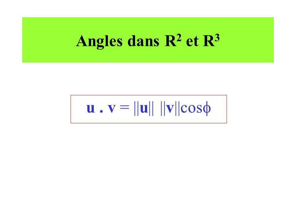 Angles dans R 2 et R 3 u. v = ||u|| ||v||cos
