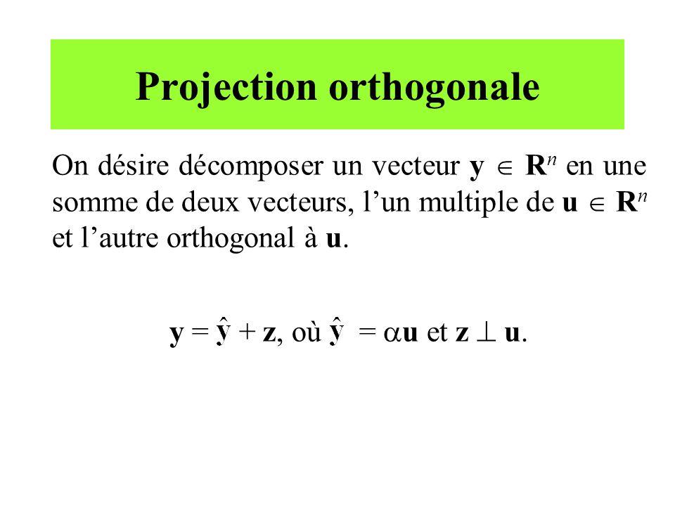 Projection orthogonale On désire décomposer un vecteur y R n en une somme de deux vecteurs, lun multiple de u R n et lautre orthogonal à u. y = + z, o
