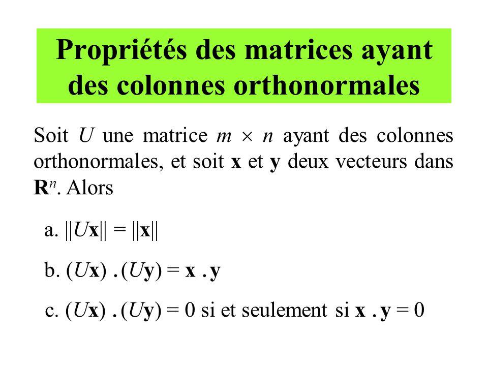 Propriétés des matrices ayant des colonnes orthonormales Soit U une matrice m n ayant des colonnes orthonormales, et soit x et y deux vecteurs dans R