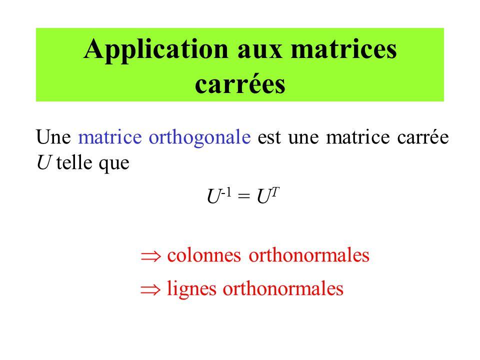 Application aux matrices carrées Une matrice orthogonale est une matrice carrée U telle que U -1 = U T colonnes orthonormales lignes orthonormales
