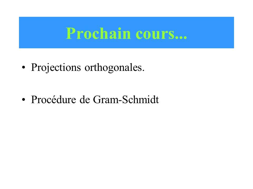 Prochain cours... Projections orthogonales. Procédure de Gram-Schmidt