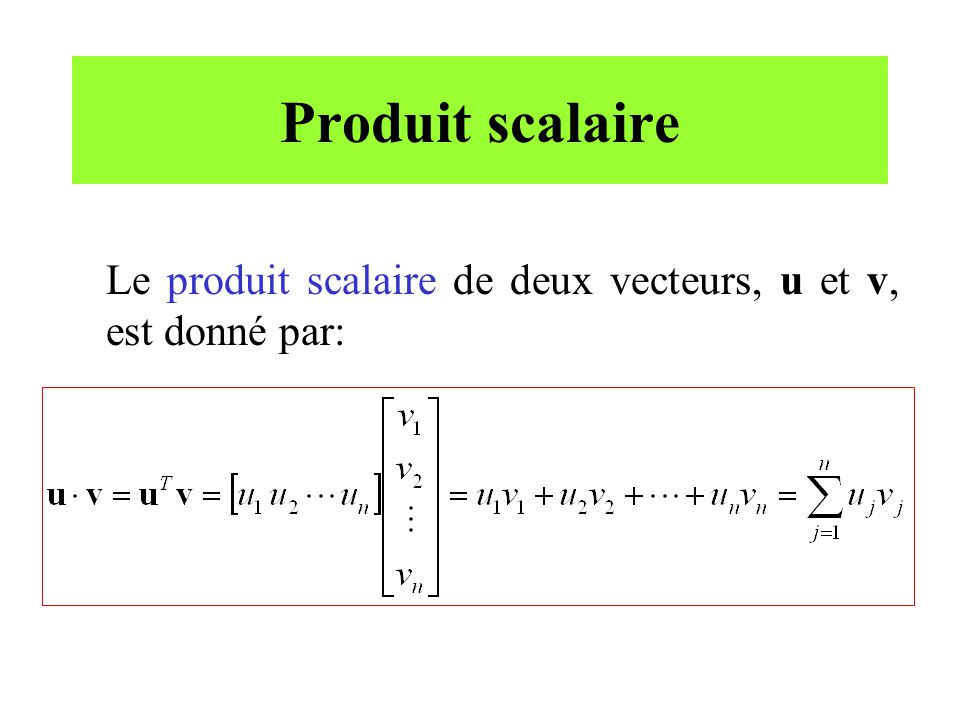 Produit scalaire (suite) Processeurs DSP (TMS320).