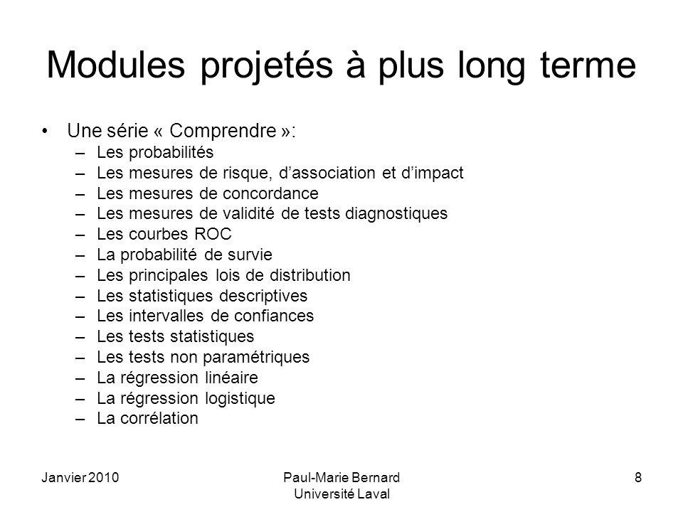 Janvier 2010Paul-Marie Bernard Université Laval 9 Modules suggérés.