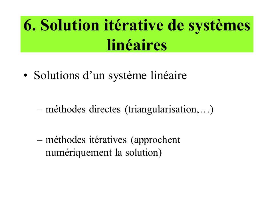 6. Solution itérative de systèmes linéaires Solutions dun système linéaire –méthodes directes (triangularisation,…) –méthodes itératives (approchent n