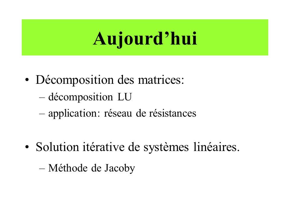 Aujourdhui Décomposition des matrices: –décomposition LU –application: réseau de résistances Solution itérative de systèmes linéaires.