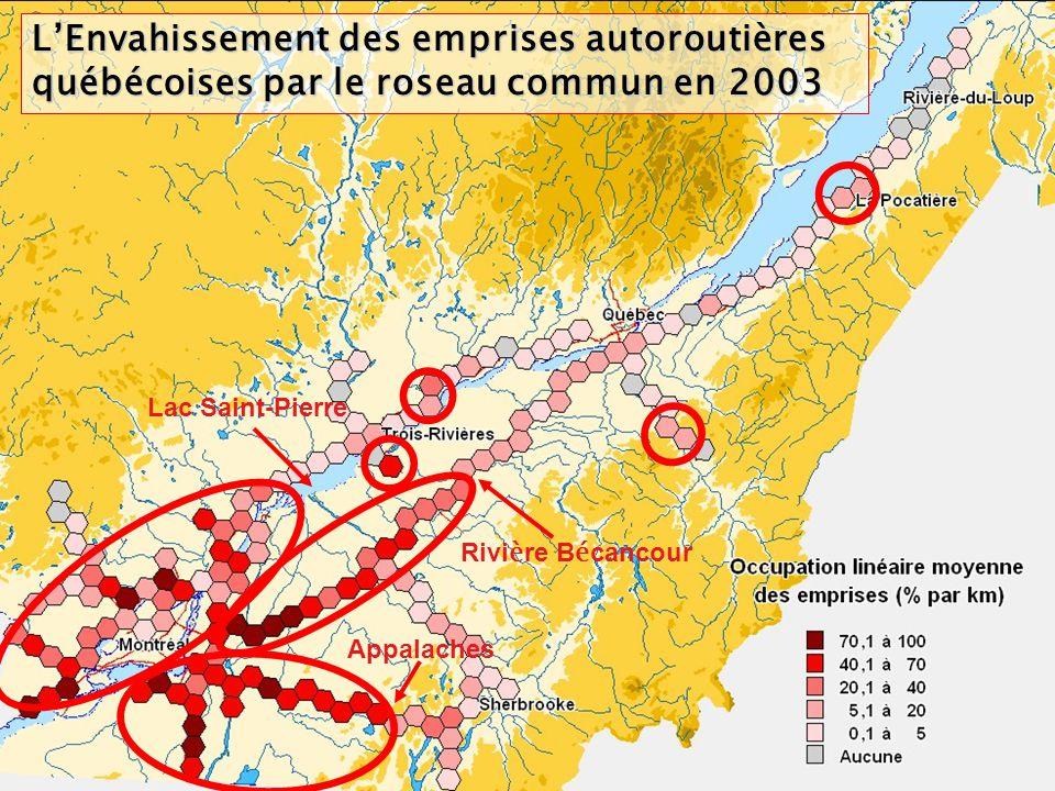 LEnvahissement des emprises autoroutières québécoises par le roseau commun en 2003 Lac Saint-Pierre Rivi è re B é cancour Appalaches