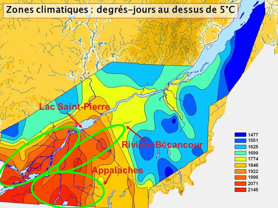Zones climatiques : degrés-jours au dessus de 5°C Lac Saint-Pierre Rivi è re B é cancour Appalaches