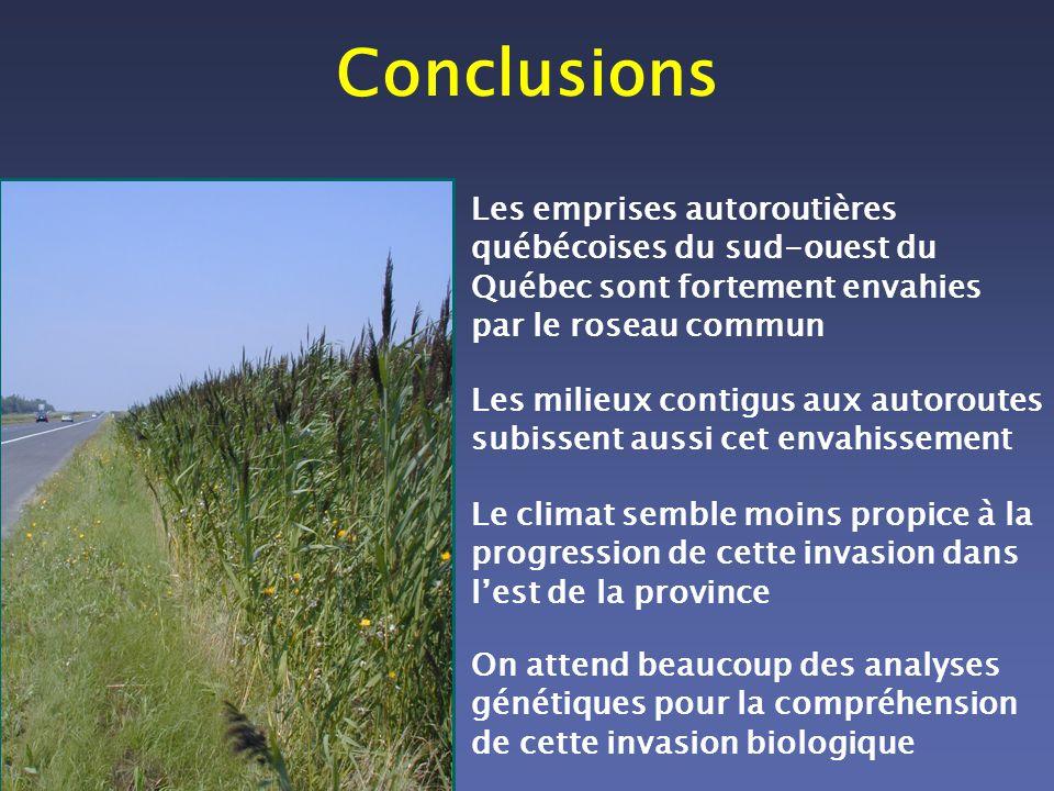 Conclusions Les emprises autoroutières québécoises du sud-ouest du Québec sont fortement envahies par le roseau commun Les milieux contigus aux autoro