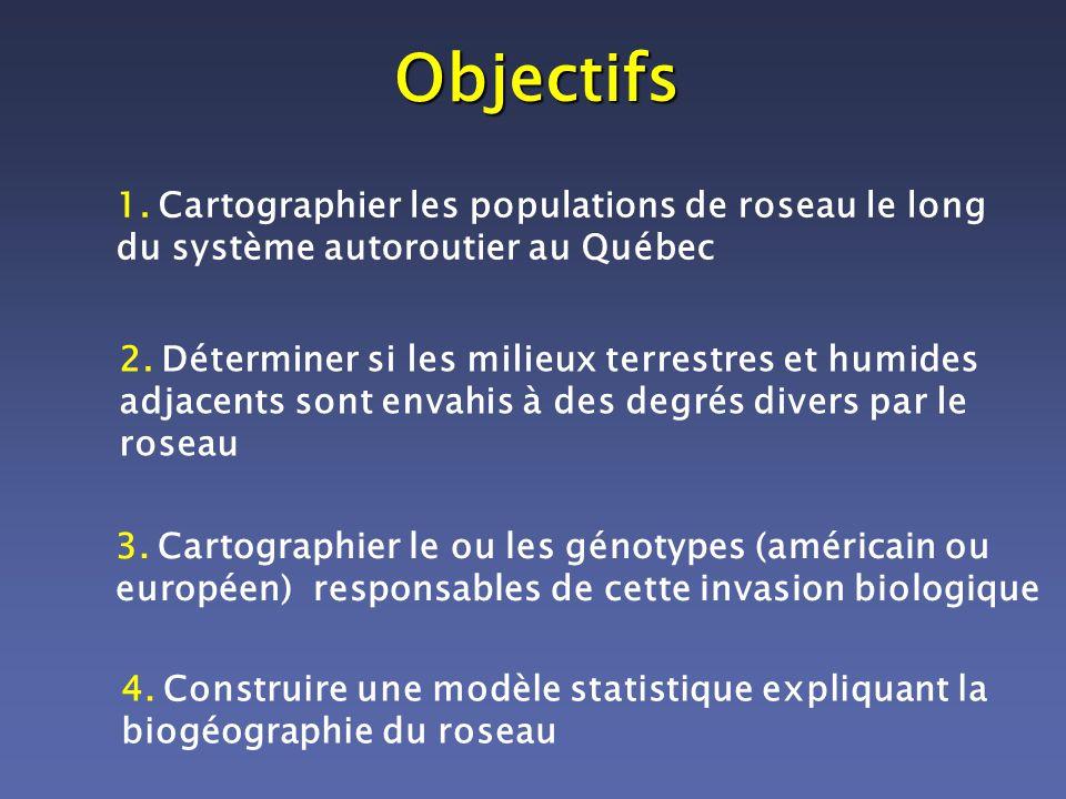 Objectifs 1. Cartographier les populations de roseau le long du système autoroutier au Québec 2. Déterminer si les milieux terrestres et humides adjac