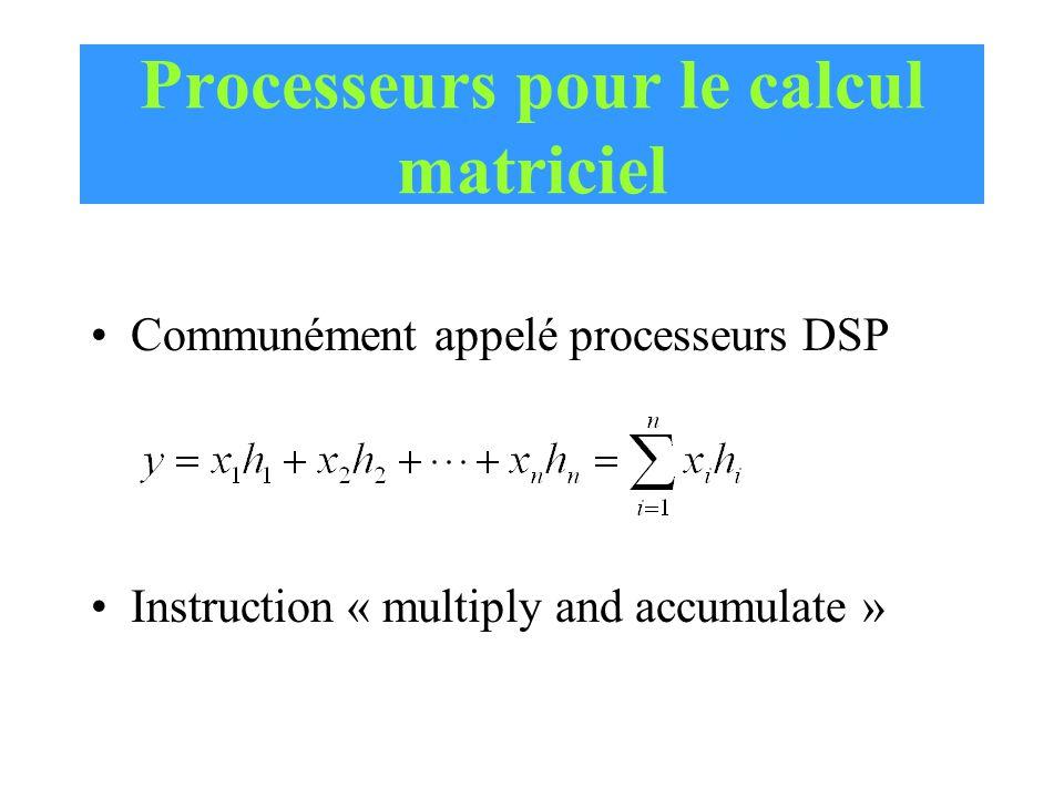 Processeurs pour le calcul matriciel Communément appelé processeurs DSP Instruction « multiply and accumulate »
