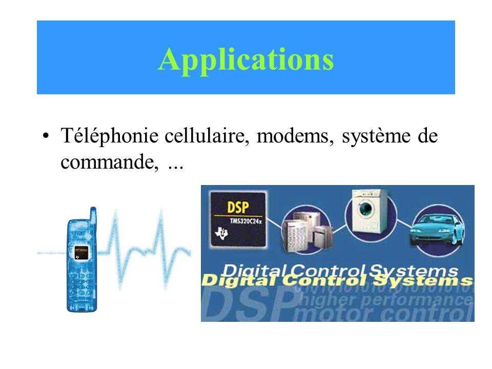 Applications Téléphonie cellulaire, modems, système de commande,...