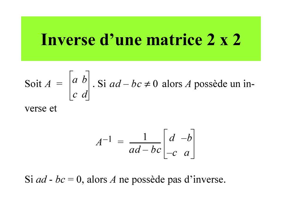 Inverse dune matrice 2 x 2