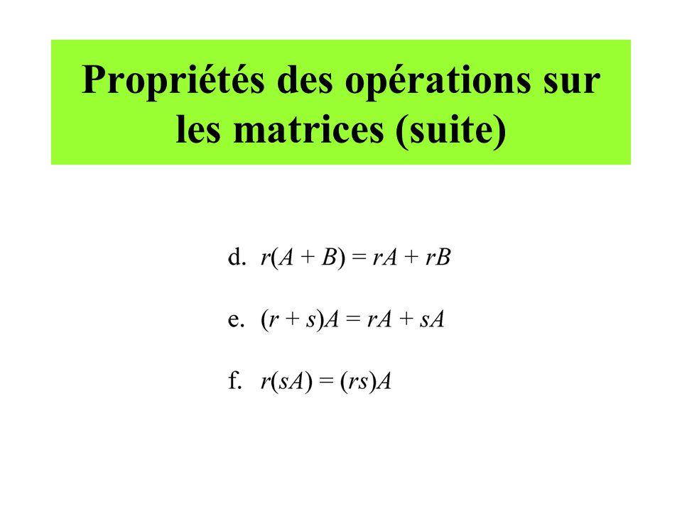 Propriétés des opérations sur les matrices (suite)