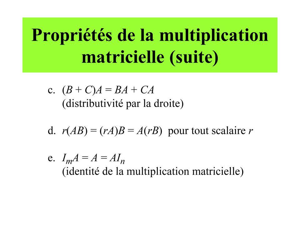 Propriétés de la transposée dune matrice