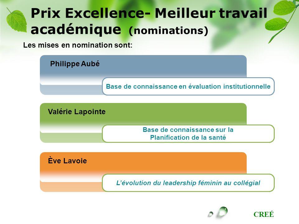 CREÉ Philippe Aubé Valérie Lapointe Ève Lavoie Base de connaissance en évaluation institutionnelle Base de connaissance sur la Planification de la san