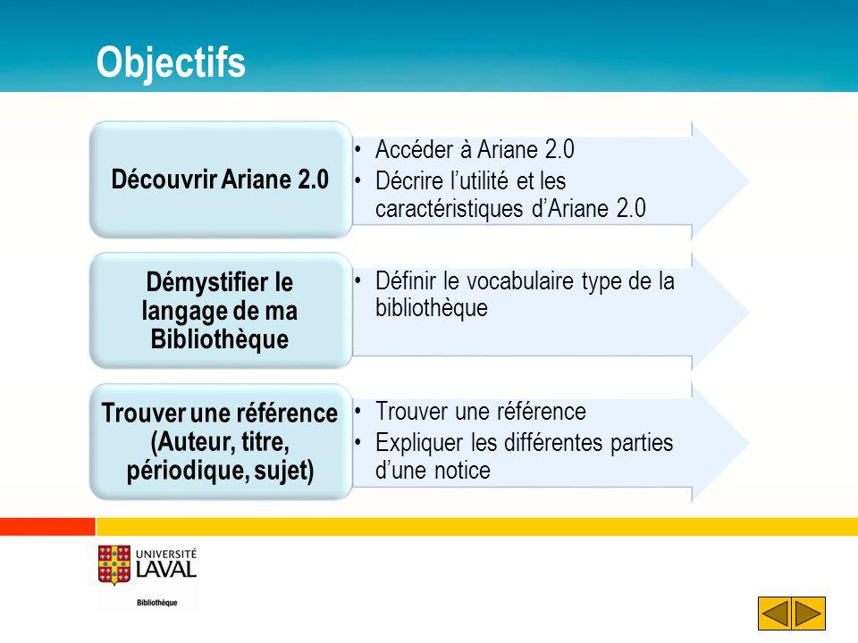 Objectifs Accéder à Ariane 2.0 Décrire lutilité et les caractéristiques dAriane 2.0 Découvrir Ariane 2.0 Définir le vocabulaire type de la bibliothèqu