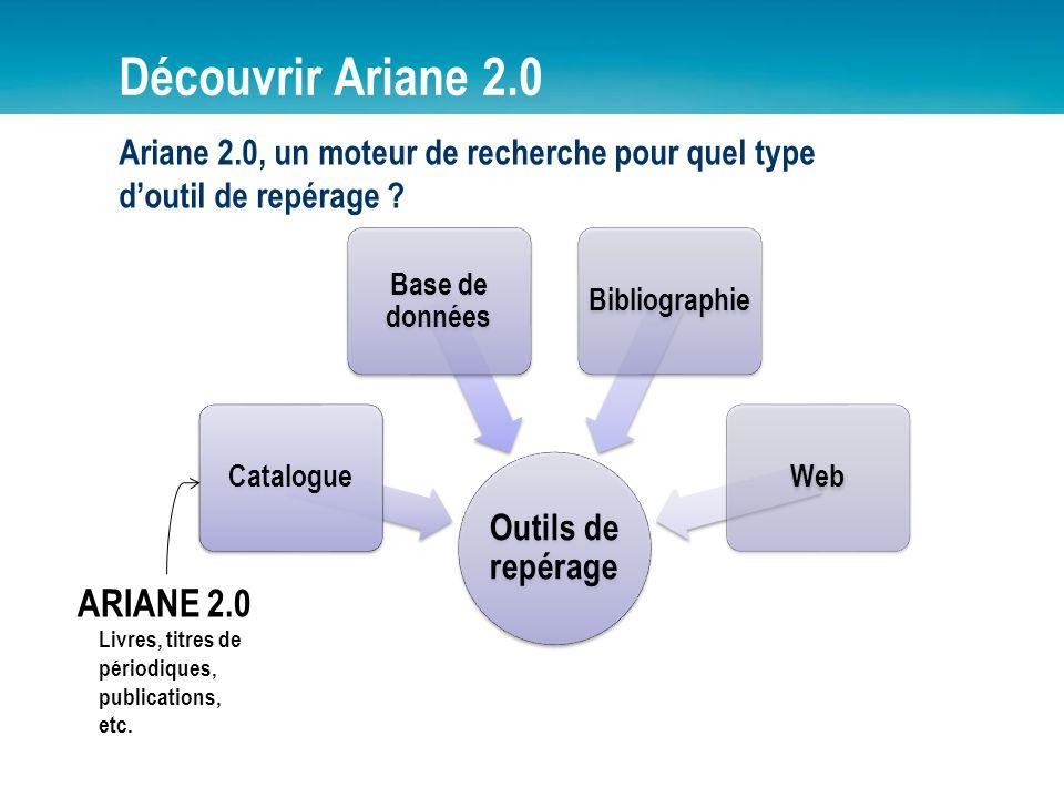 Découvrir Ariane 2.0 Outils de repérage Catalogue Base de données BibliographieWeb ARIANE 2.0 Livres, titres de périodiques, publications, etc. Ariane