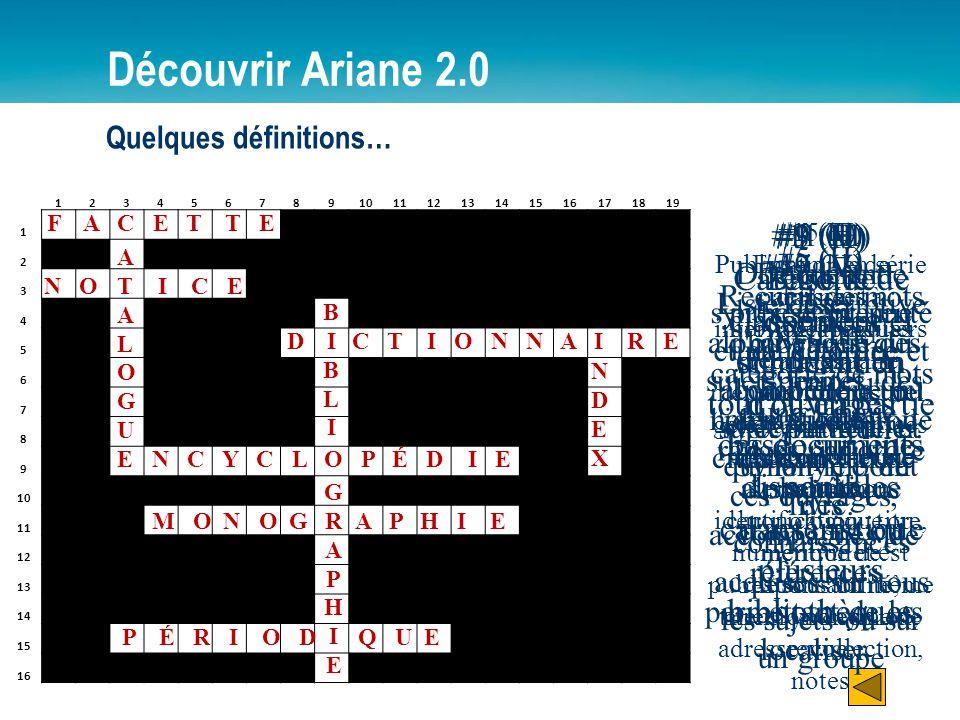 12345678910111213141516171819 1 2 3 4 5 6 7 8 9 10 11 12 13 14 15 16 Découvrir Ariane 2.0 Quelques définitions… F A C E T T E ATALOGUEATALOGUE N O I C