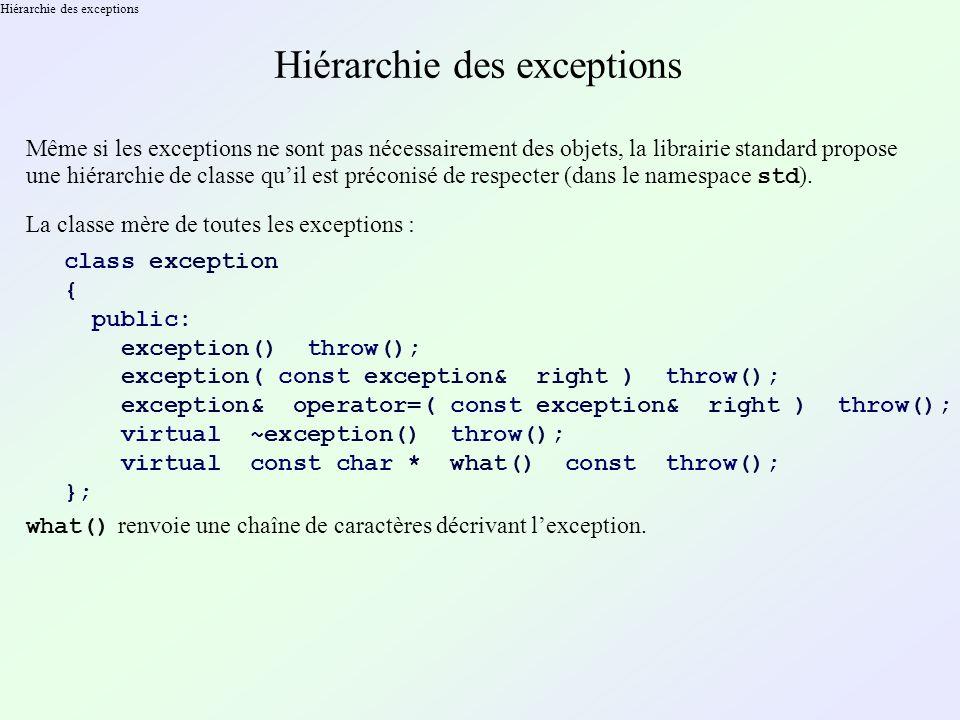 Hiérarchie des exceptions Même si les exceptions ne sont pas nécessairement des objets, la librairie standard propose une hiérarchie de classe quil est préconisé de respecter (dans le namespace std ).