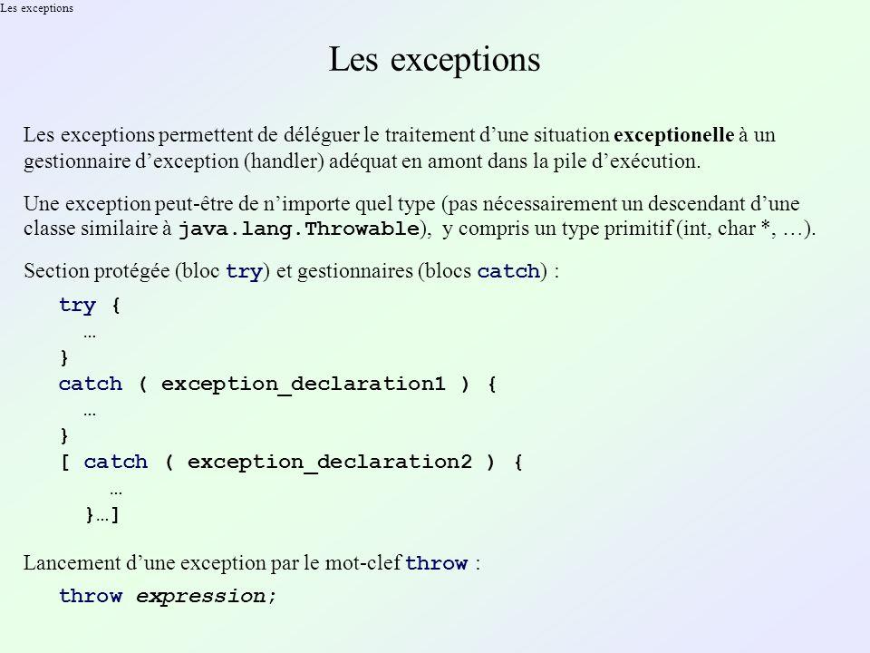 Les exceptions Les exceptions permettent de déléguer le traitement dune situation exceptionelle à un gestionnaire dexception (handler) adéquat en amont dans la pile dexécution.