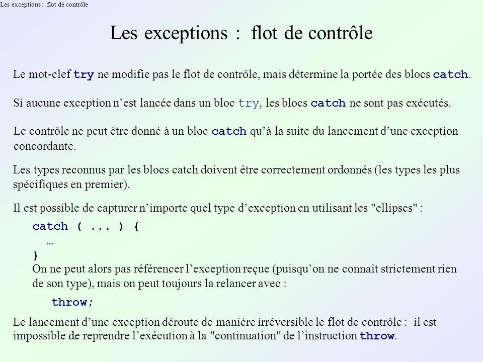 Les exceptions : flot de contrôle Le mot-clef try ne modifie pas le flot de contrôle, mais détermine la portée des blocs catch.