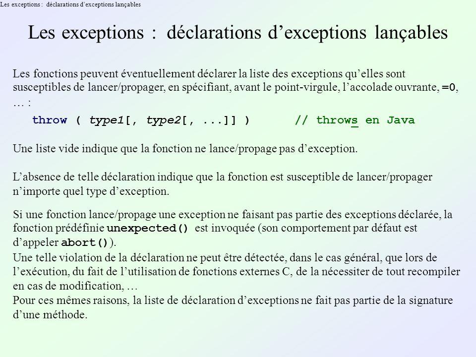 Les exceptions : déclarations dexceptions lançables Les fonctions peuvent éventuellement déclarer la liste des exceptions quelles sont susceptibles de lancer/propager, en spécifiant, avant le point-virgule, laccolade ouvrante, =0, … : throw ( type1[, type2[,...]] ) // throws en Java Une liste vide indique que la fonction ne lance/propage pas dexception.