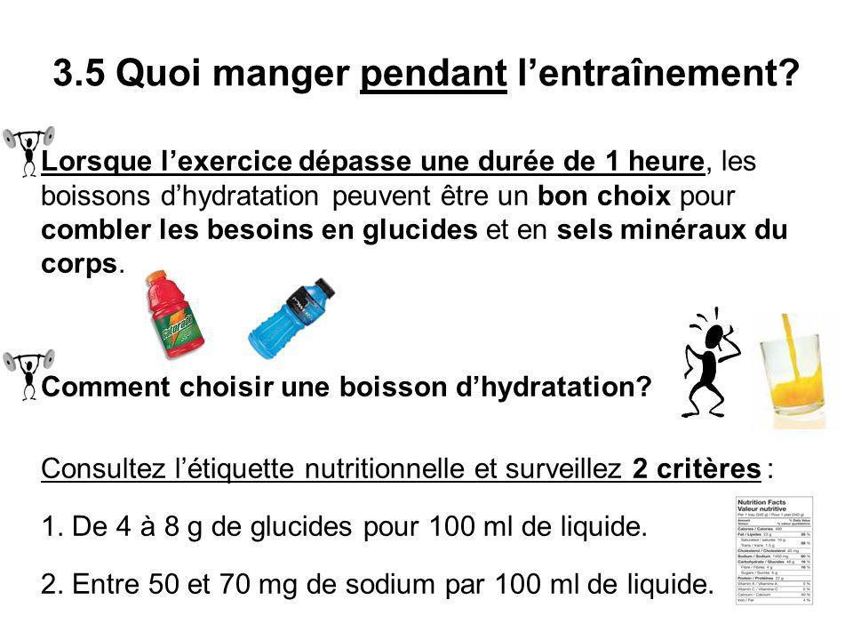 Lorsque lexercice dépasse une durée de 1 heure, les boissons dhydratation peuvent être un bon choix pour combler les besoins en glucides et en sels mi