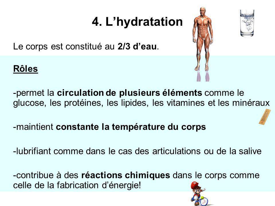 Le corps est constitué au 2/3 deau. Rôles -permet la circulation de plusieurs éléments comme le glucose, les protéines, les lipides, les vitamines et