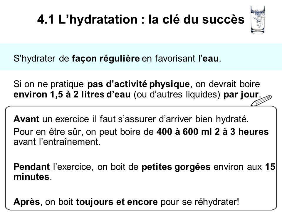 Shydrater de façon régulière en favorisant leau. Si on ne pratique pas dactivité physique, on devrait boire environ 1,5 à 2 litres deau (ou dautres li