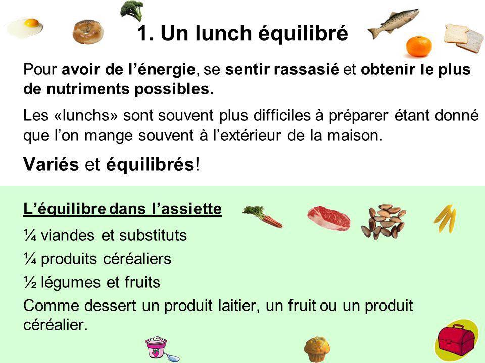 1. Un lunch équilibré Pour avoir de lénergie, se sentir rassasié et obtenir le plus de nutriments possibles. Les «lunchs» sont souvent plus difficiles