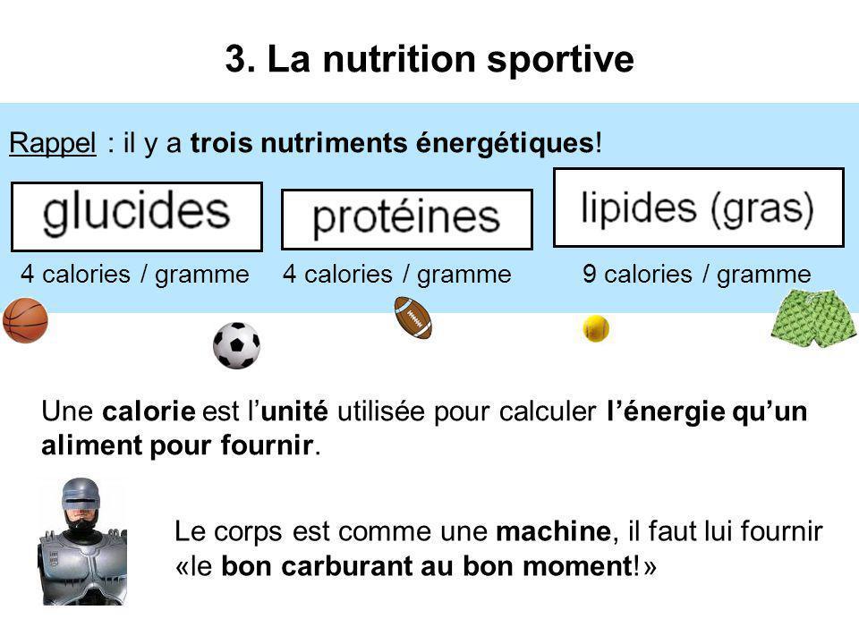 4 calories / gramme 9 calories / gramme 3. La nutrition sportive Le corps est comme une machine, il faut lui fournir «le bon carburant au bon moment!»
