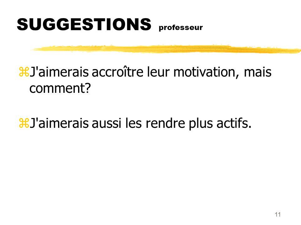 11 SUGGESTIONS professeur zJ'aimerais accroître leur motivation, mais comment? zJ'aimerais aussi les rendre plus actifs.